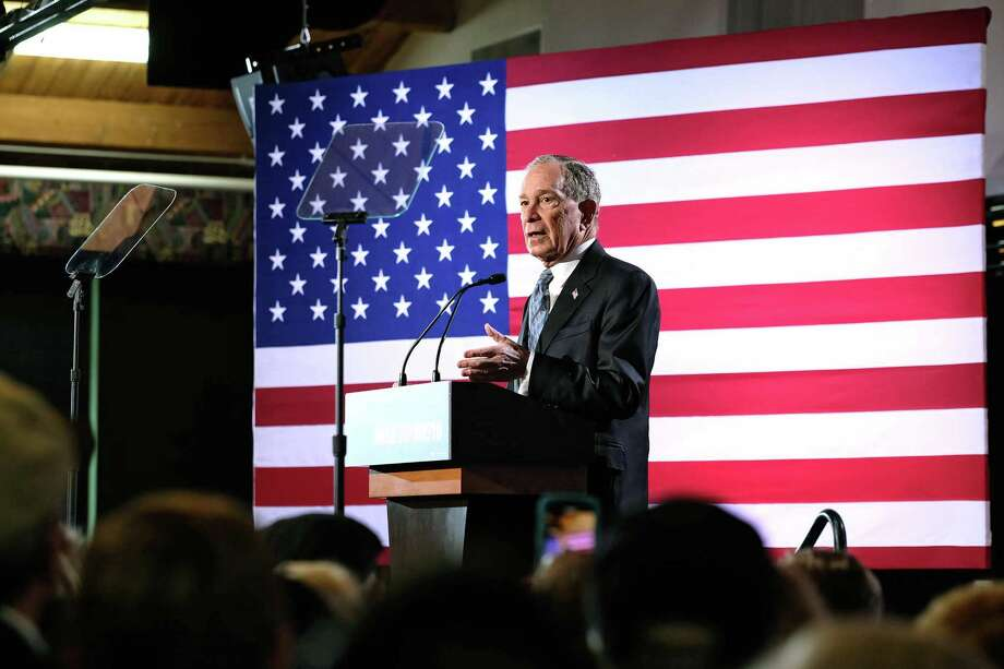 Michael Bloomberg speaks during a presidential primary campaign event in Chattanooga, Tenn., Feb. 12, 2020. Michael Bloomberg's rise in the polls has increased the pressure on political reporters employed by his news outlet. (Shawn Poynter/The New York Times) Photo: SHAWN POYNTER, STR / NYT / NYTNS