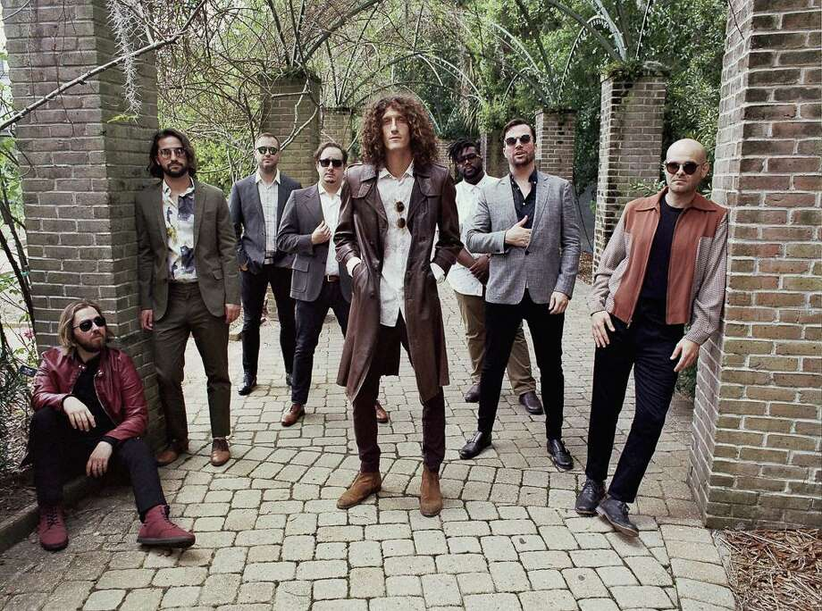 The Revivalists perform at Foxwoods Resort Casino Feb. 28. From left are Michael Girardot (keyboard, trumpet), Zack Feinberg (guitar), Rob Ingraham (saxophone), George Gekas (bass), David Shaw (lead vocals, guitar), PJ Howard (drums, percussion), Ed Williams (pedal steel guitar) and Andrew Campanelli (drums). Photo: Zackery Michael / Contributed Photo