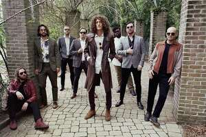The Revivalists perform at Foxwoods Resort Casino Feb. 28. From left are Michael Girardot (keyboard, trumpet), Zack Feinberg (guitar), Rob Ingraham (saxophone), George Gekas (bass), David Shaw (lead vocals, guitar), PJ Howard (drums, percussion), Ed Williams (pedal steel guitar) and Andrew Campanelli (drums).