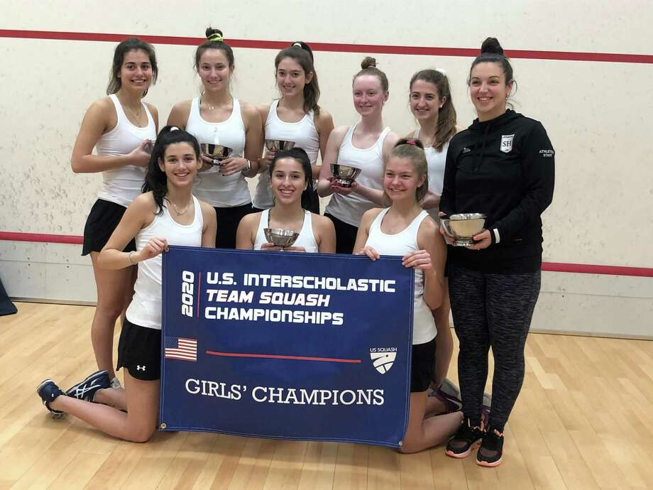 The Sacred Heart Greenwich varsity B team finished first at the inaugural 2020 U.S. Interscholastic Team Squash Championships in Providence, Rhode Island on February 15, 2020. Photo: Contributed Photo