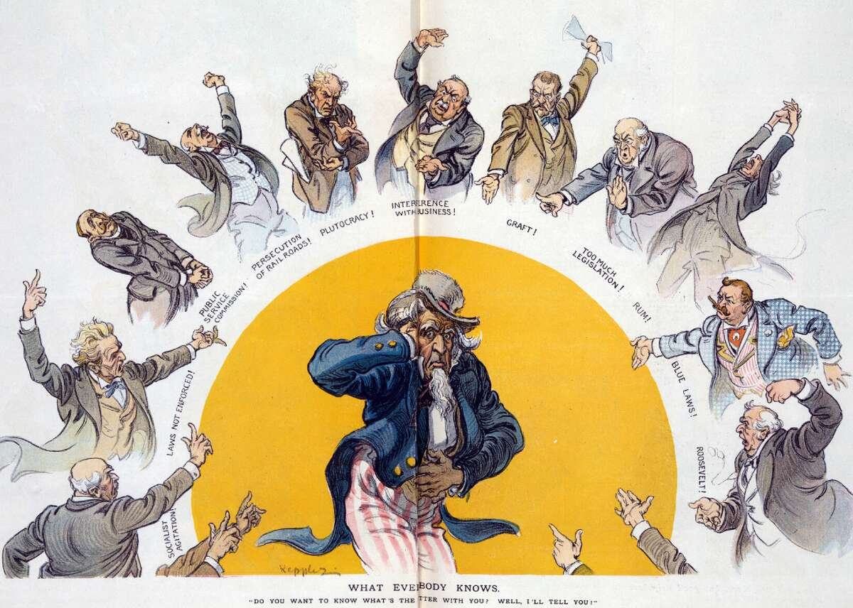 """1911: 'What Everybody Knows' In """"What everybody knows,"""" artist Udo J. Keppler draws Uncle Sam surrounded by men bemoaning the woes of the United States. At the time, the death rate from cirrhosis was nearly 30 per 100,000 men. This rate dropped to about 11 per 100,000 by 1929, when Prohibition had been in effect for nearly a decade. [Pictured: """"What everybody knows"""" by Udo J. Keppler for Puck Magazine dated Jan. 25, 1911.] This slideshow was first published on theStacker.com"""