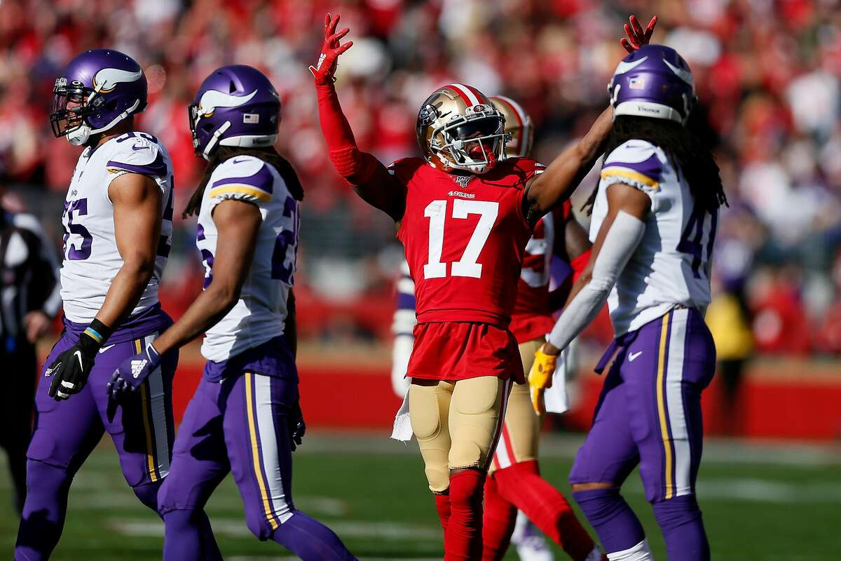 San Francisco 49ers wide receiver Emmanuel Sanders (17) reacts after catch for a first down against the Minnesota Vikings in the first half of an NFC Divisional Round playoff game at Levi's Stadium on Saturday, Jan. 11, 2020, in Santa Clara, Calif.