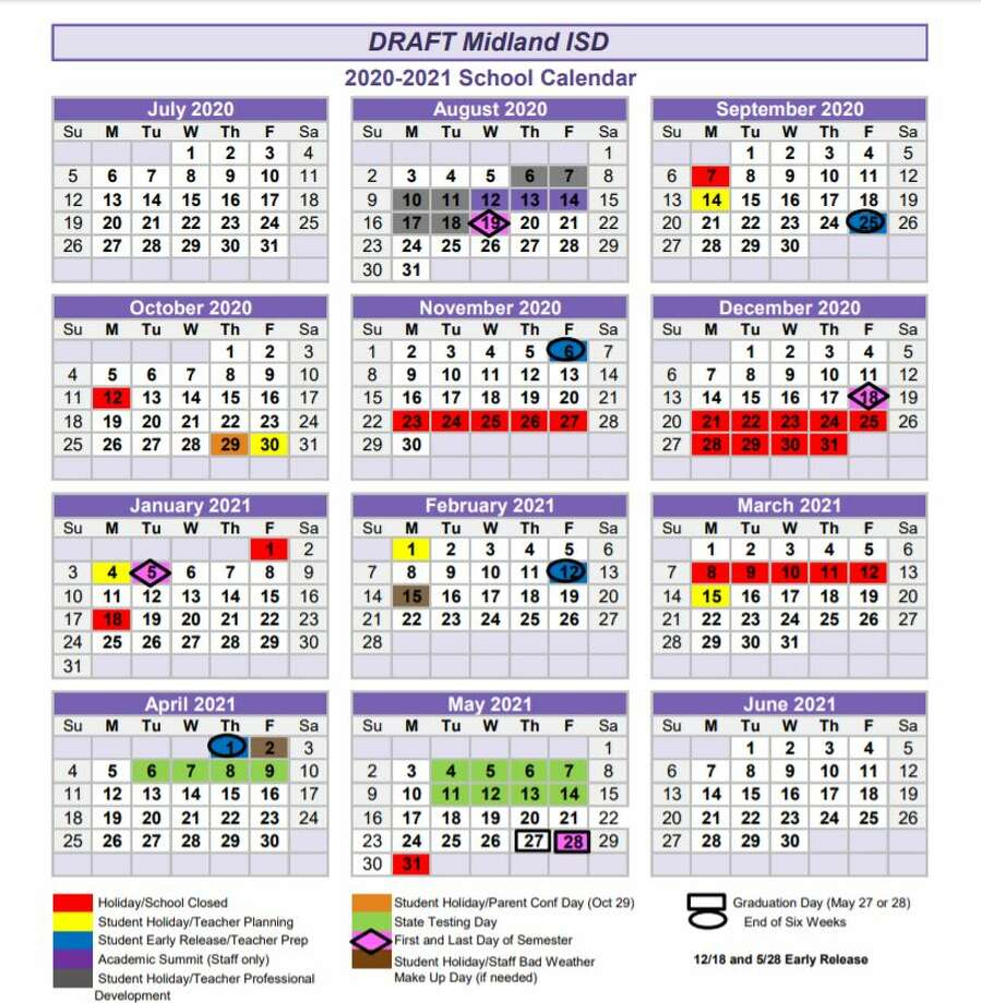 """The consent agenda includes approval of the recommended 2020-21 school calendar. An attachment to that agenda item is """"an innovative approach"""" to the calendar. MISD said House Bill 3 allows districts to consider a 180-day calendar that would have an additional 30 days. Photo: Midland ISD"""