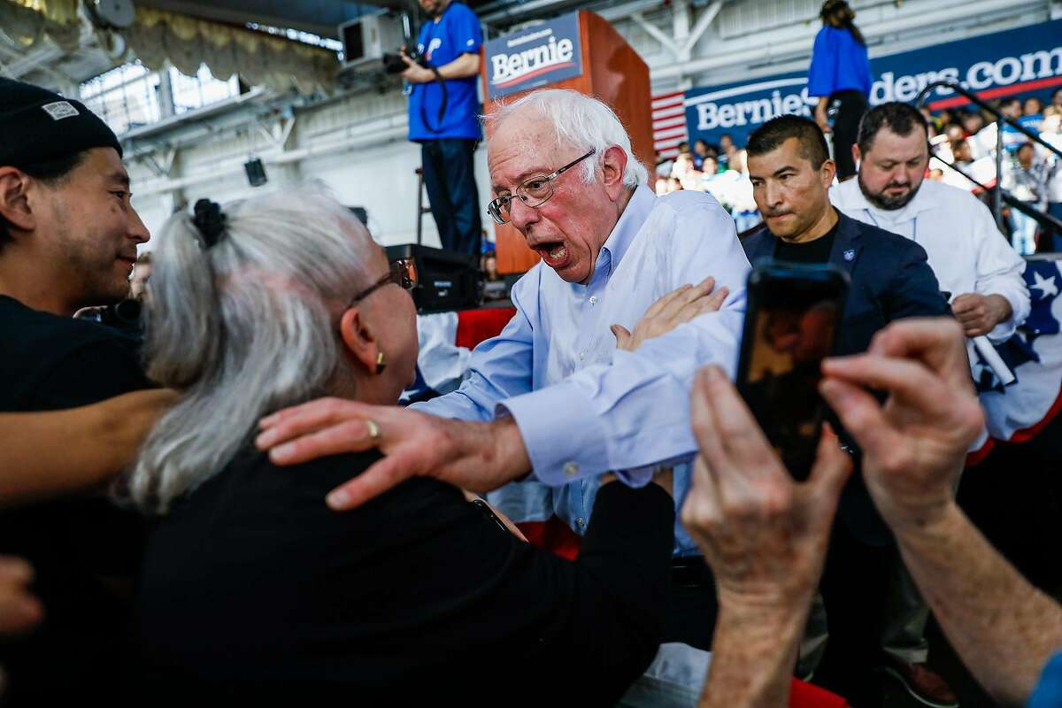 Democratic presidential contender Sen. Bernie Sanders greets a supporter during a campaign appearance in Richmond.
