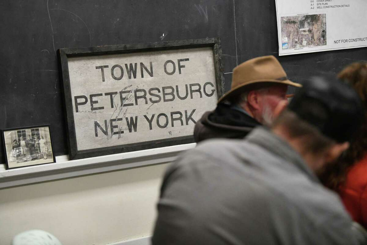 People attend a town board meeting on Monday, Feb. 17, 2020 in Petersburgh, N.Y. The town board is considering whether to cap the amount of any settlement over PFOA contamination in a landfill Petersburgh shares with neighboring Berlin. (Lori Van Buren/Times Union)