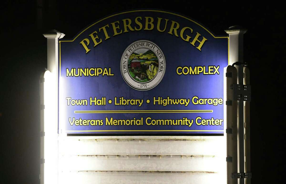 Sign outside of Petersburgh Town Hall where people attended a town board meeting on Monday, Feb. 17, 2020 in Petersburgh, N.Y. The town board is considering whether to cap the amount of any settlement over PFOA contamination in a landfill Petersburgh shares with neighboring Berlin. (Lori Van Buren/Times Union)
