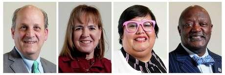 County Commissioner Precinct 3 democratic candidates Michael Moore, left to right, Kristi Thibaut, Diana Martinez Alexander, and Morris Overstreet.