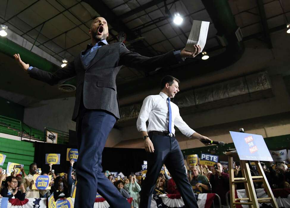 LAS VEGAS, NEVADA - FEBRUARY 16: Actor Keegan-Michael Key (L) introduces Democratic presidential candidate former South Bend, Indiana Mayor Pete Buttigieg at a rally at Rancho High School on February 16, 2020, in Las Vegas, Nevada. Buttigieg is campaigning ahead of the February 22 Nevada Democratic presidential caucus. (Photo by Ethan Miller/Getty Images) ***BESTPIX***