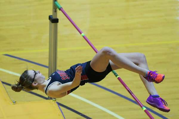 Abigail Seaman of South Gelns Falls High School clears 5' 2' on the high jump at the Section II Division II high school indoor track championships on Monday, Feb. 17, 2020, in Albany, N.Y. Seaman finished second overall. (Paul Buckowski/Times Union)