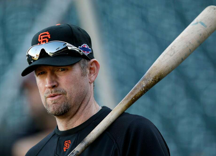 San Francisco Giants first baseman Aubrey Huff warms up before Game 2 of the National League division baseball series against the Cincinnati Reds in San Francisco, Sunday, Oct. 7, 2012. (AP Photo/Eric Risberg) Photo: Eric Risberg / Associated Press 2012