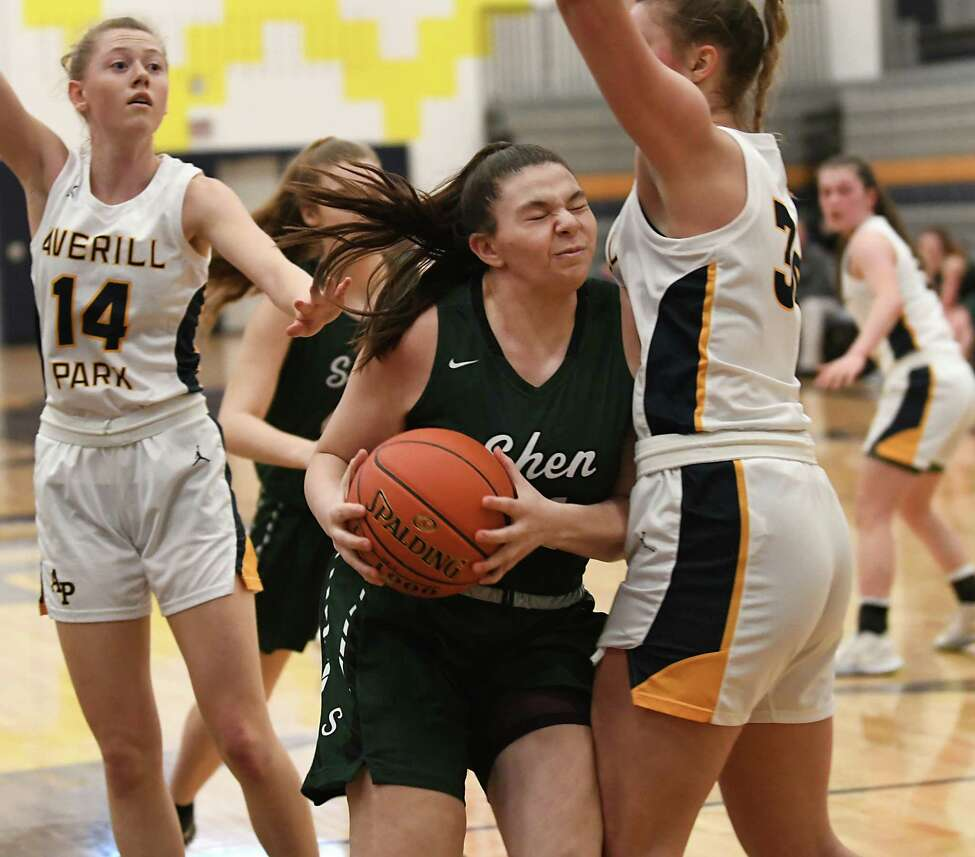 Shenendehowa's Jenna Slader drives to the basket against Averill Park's Amelia Wood during a game on Monday, Feb. 17, 2020 in Averill Park, N.Y. (Lori Van Buren/Times Union)