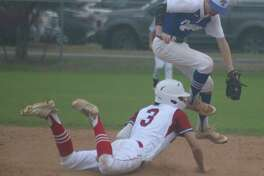 Pasadena-FBCA's Brayden Evans steals second base in the fifth inning, but he went no further as the Warriors stranded three potential go-ahead runs on the bases over their last two at-bats.
