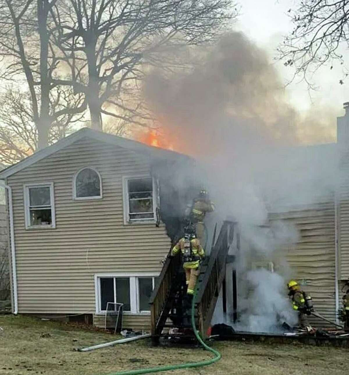 A house under renovation on Hampshire Drive was damaged by fire on Monday, Feb. 17, 2020. At 5:20 p.m., a call was received by the Stamford 911 center from a neighbor reporting flames coming from the rear of unoccupied house.