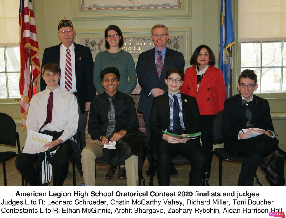 American Legion High School Oratorical Contest finalists, front, left to right, Ethan McGinnis, Archit Bhargave, Zachary Rybchin and Aidan Harrison Hall. The judges are, rear, left to right, are Leonard Schroeder, Cristin McCarthy Vahey, Richard Miller and Toni Boucher. Photo: Contributed Photo / Connecticut Post