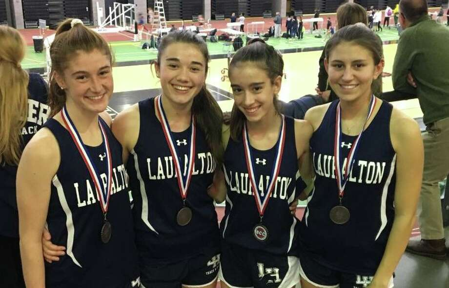 Catherine McLaughlin, Lauren Baisley, Kelly Jones and Carly Costikyan broke the school record in the 4x800 relay at the SCC Championships. Photo: Contributed Photo / Lauralton Hall Athletics / Milford Mirror