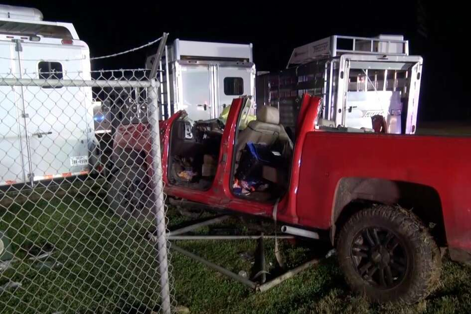 Police investigate a crash where a pickup driver was impaled by a pole after he crashed through a chain-link fence Tuesday, Feb. 18, 2020.