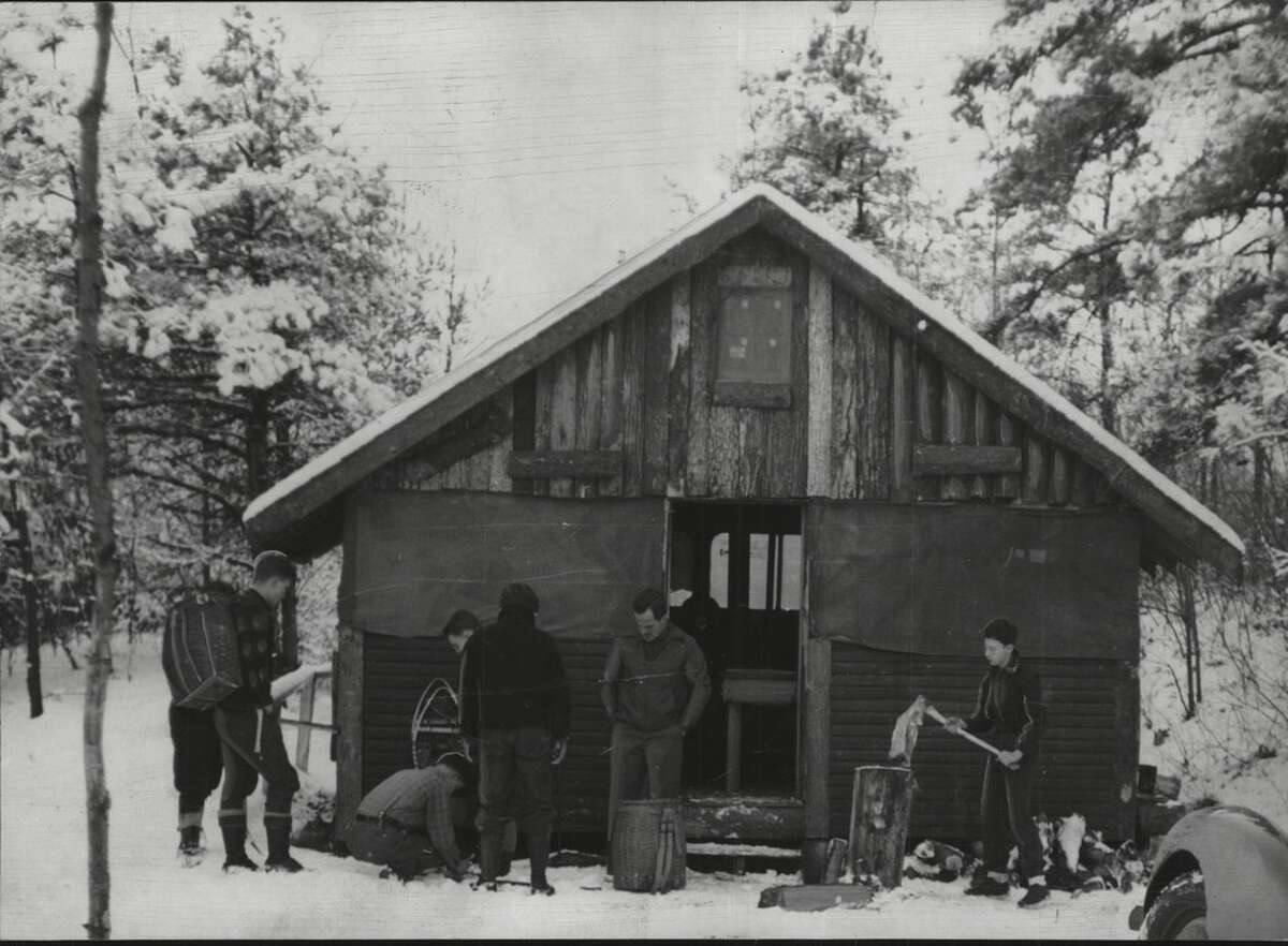 Boy Scouts occupy a wooden hut for cold weather at Camp Hawley on Kinderhook Lake in 1941.