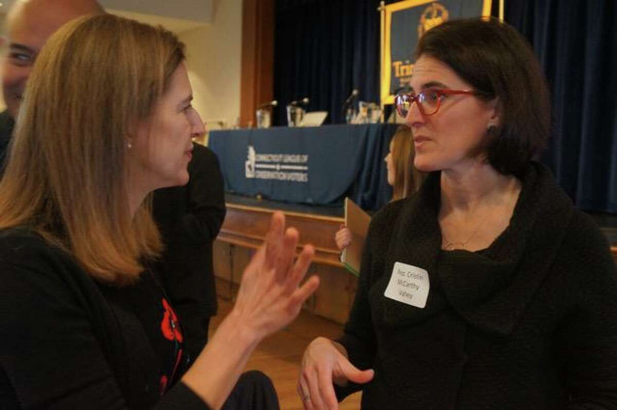 Lieutenant Governor Susan Bysiewiczm left, with Fairfield State Rep. Cristin McCarthy Vahey at the Summit.