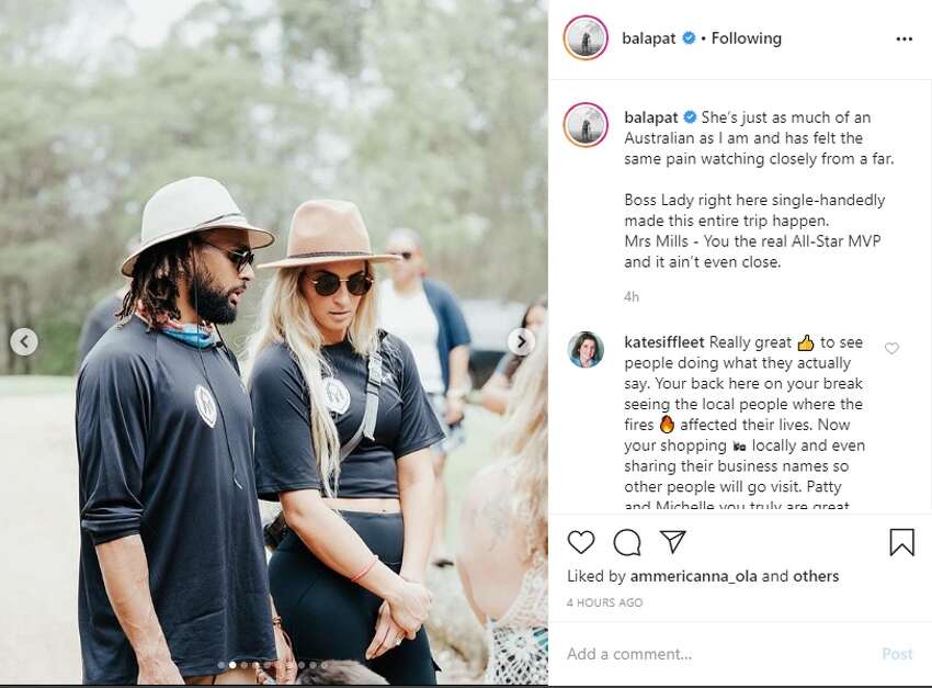 1. From posting about his beautiful boss wife to bringing awareness to the wildfires in his home country Australia, Patty Mills has some quality content on Instgram.