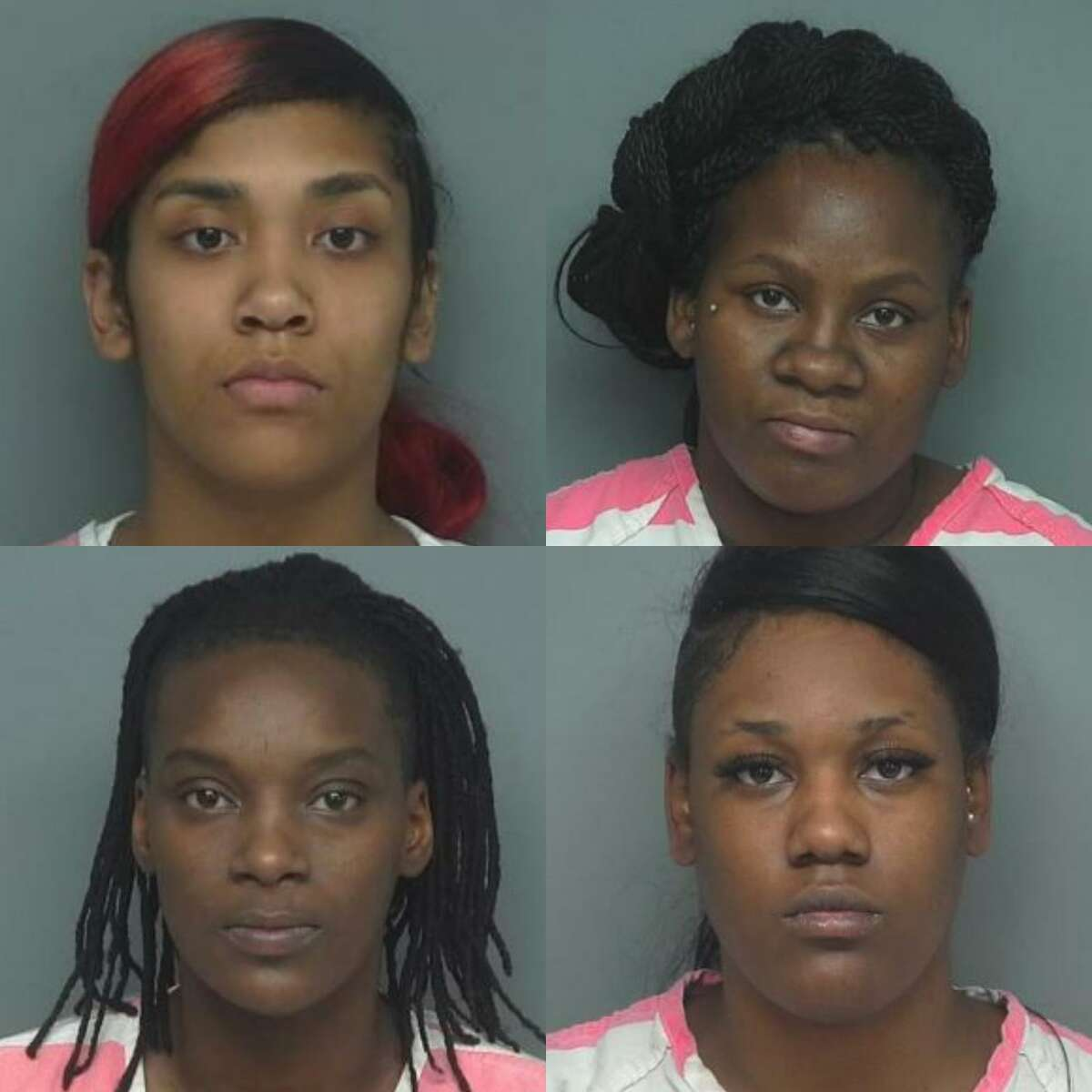 From top left to right: Destini Tacora Charon Berry, 21, Daquana Desharde Washington, 26, Twiana Tashia Norman Washington, 25, and Infant Wiltz, 19, are being charged with engaging in organized criminal activity, a third-degree felony.