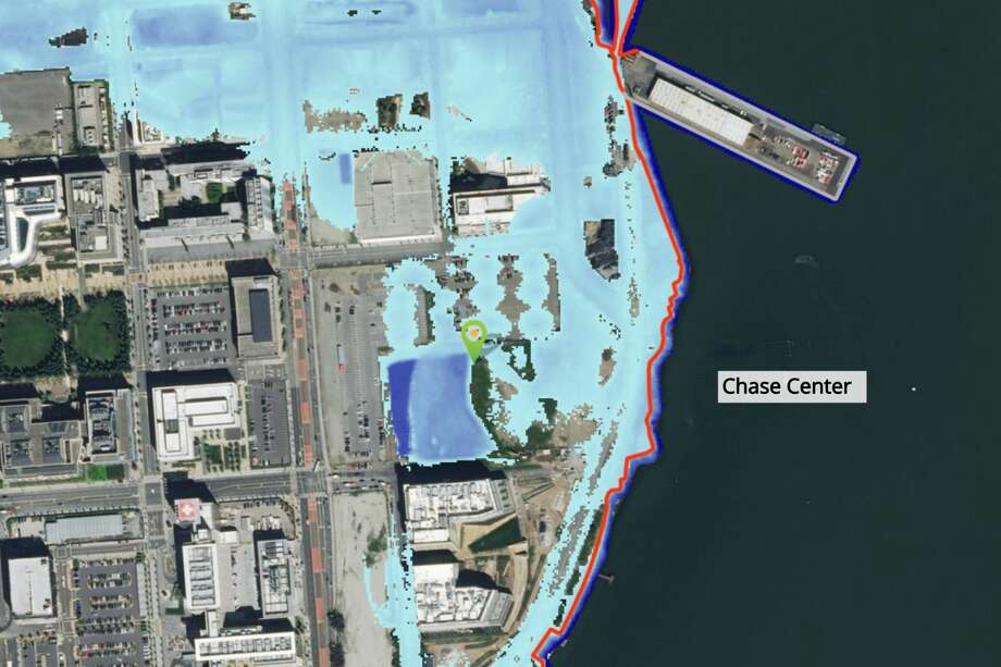 Chase Center is flooded with 66 inches of sea-level rise if precautions aren't taken, according to the Bay Shoreline Flood Explorer online tool.  Photo: Adapting To Rising Tides