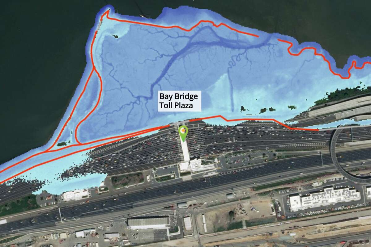 The Bay Bridge Toll Plaza is flooded with 36 inches of sea-level rise if precautions aren't taken, according to the Bay Shoreline Flood Explorer online tool.