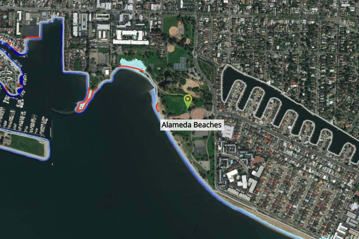 Alameda beaches are flooded with 24 to 36 inches of sea-level rise if precautions aren't taken, according to the Bay Shoreline Flood Explorer online tool.