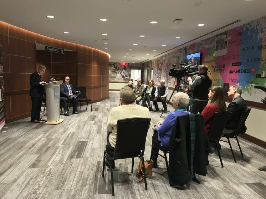 Albany Pro Musica artistic director José Daniel Flores-Caraballo, left at podium, at a Hearst Media Center press conference on Tuesday announcing a $200,000 grant funding student fellowships for its upcoming festival (photo by Amy Biancolli)