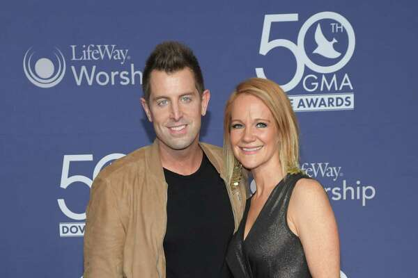 Jeremy Camp and Adrienne Camp attend the 50th Annual GMA Dove Awards in 2019.