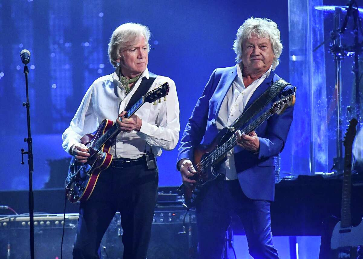 John Lodge, right, and and Justin Hayward of The Moody Blues perform at the 33rd Annual Rock & Roll Hall of Fame Induction Ceremony in 2018.
