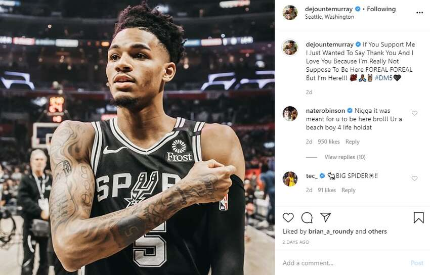 2. Dejounte Murray has about two to three posts every month, and the captions for the pictures are usually motivating and uplifting.