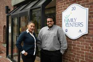 Family Centers Reaching Independence Through Employment (RITE) Program Coordinator Darian Jones poses with his client Mia Sambo, of Greenwich, at Family Centers in Greenwich, Conn. Monday, Jan. 6, 2020. Family Centers helps many families and individuals across the region.
