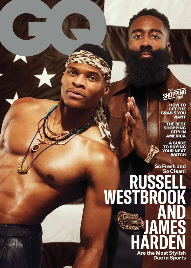 PHOTOS: Some of the outfits James Harden and Russell Westbrook have worn off the court in the past year The Rockets' Russell Westbrook and James Harden on the cover of the March 2020 issue of GQ. Browse through the photos at the top of the page for a look at the style of James Harden and Russell Westbrook off the court ... Photo: GQ