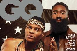 The Rockets' Russell Westbrook and James Harden on the cover of the March 2020 issue of GQ.