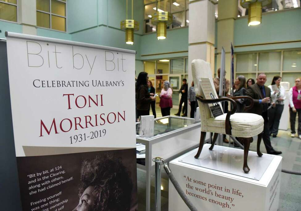 A new Toni Morrison exhibit from the New York State Writers Institute was unveiled on Tuesday, Feb. 18, 2020, at the University at Albany Science Library Atrium in Albany, N.Y. The exhibit features papers, photographs and archival items, as well as Morrison?•s office chair from her time at UAlbany. (Will Waldron/Times Union)