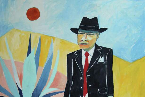 """Cruz Ortiz' oil painting """"Tomás in an Aztlan Dream,"""" a portrait of Chicano scholar Tomas Ybarra-Frausto, has been acquired by the National Portrait Gallery."""