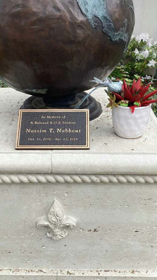 Closeup of statue remembering Nassim Nabbout, a River Oaks Elementary School student who died in April 2019.