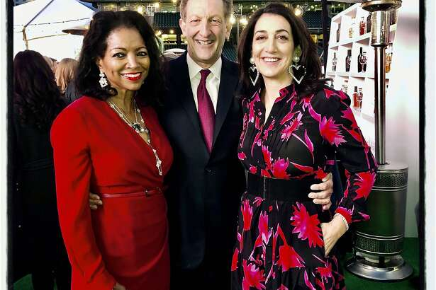 Denise Bradley-Tyson (left) with Giants CEO Larry Baer and his wife, SF General Hospital Foundation director Pam Baer at Oracle Park. Feb. 13, 2020.