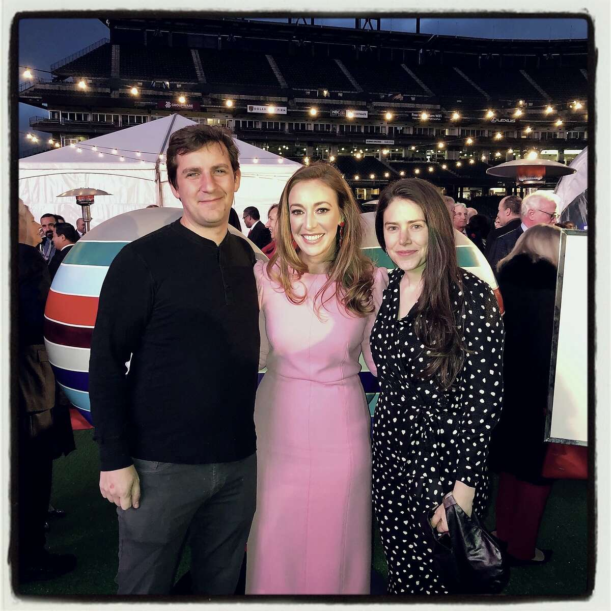 SF General Hospital Foundation trustees and Hearts co-chairs Andrew McCollum and Schuyler Hudak with FertilityIQ co-founder Deborah Anderson-Bialis at Oracle Park. Feb. 13, 2020.