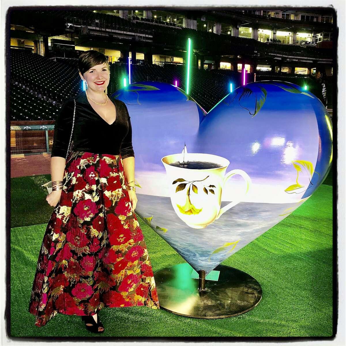 Hearts in SF artist Laine Wiesemann at Oracle Park. Feb. 13. 2020.