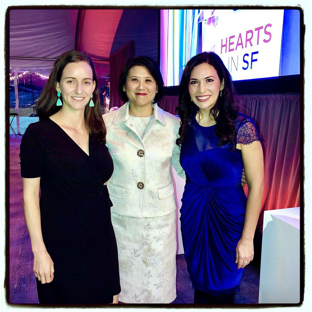 Dr. Hannah Snyder (left) with Kaiser Permanente COO Janet Liang and Dr. Marlene Martin at the Hearts in SF fundraiser. Feb. 13, 2020.