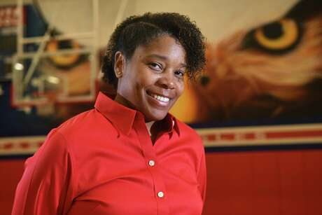 Atascocita Head Girls Basketball Coach Veronica Johnson poses for a portrait in the AHS gym on Jan. 6, 2020.