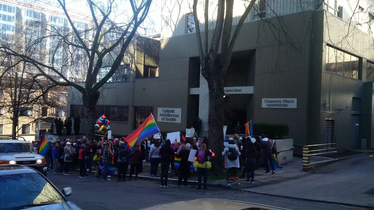 Protests at the Catholic Archdiocese of Seattle on Feb. 18.