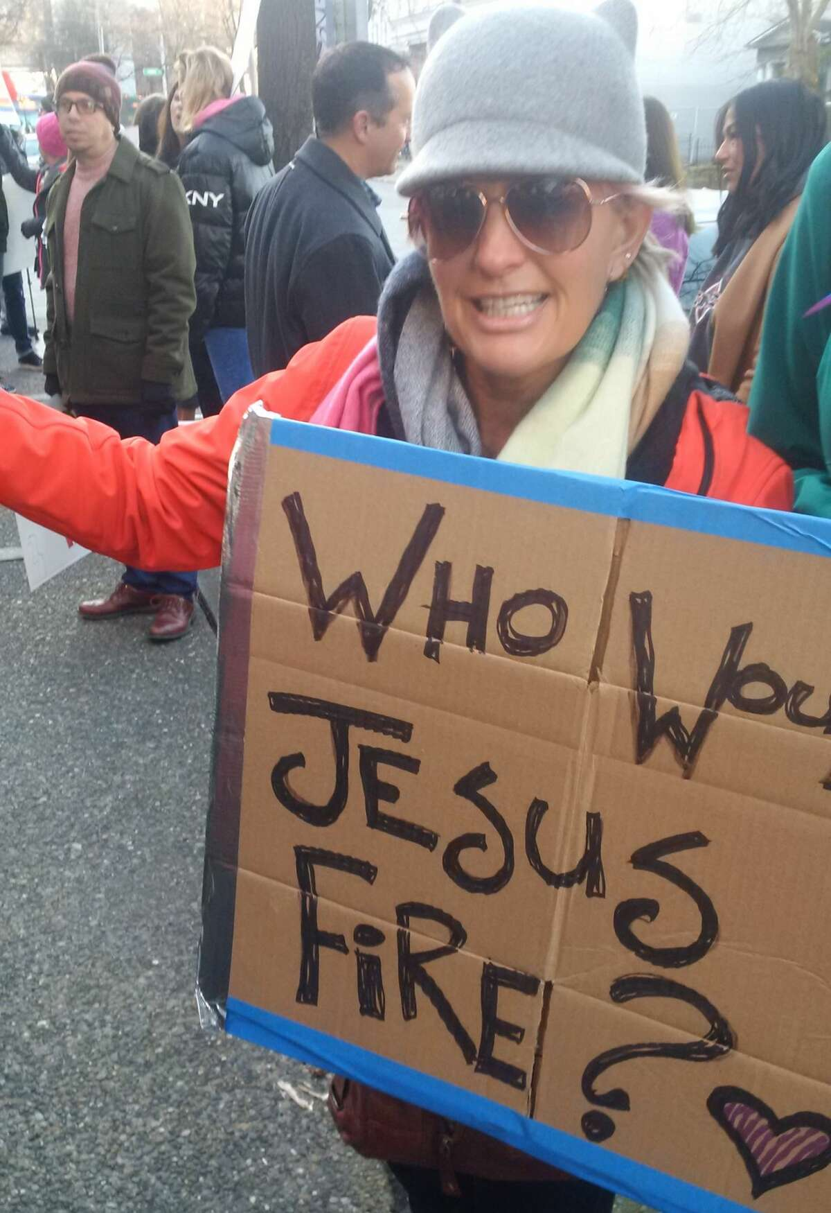 Protest at the Catholic Archdiocese of Seattle on Feb. 18.