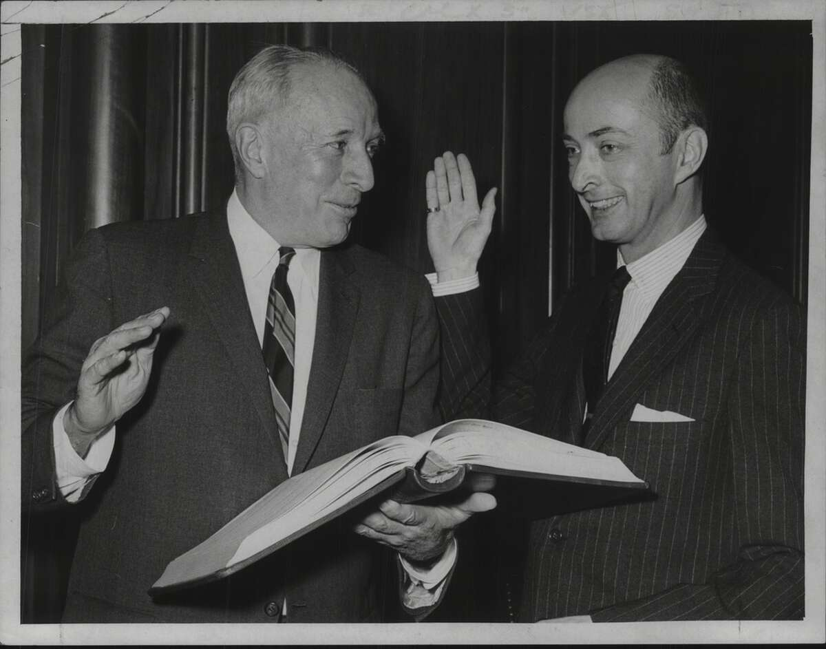 Albany, New York Mayor Erastus Corning swears in Norman S. Rice as City Historian. December 1966 (Times Union Archive)
