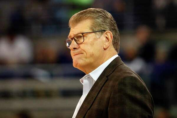 UConn coach Geno Auriemma watches play against East Carolina during the second half of an NCAA college basketball game, Saturday, Jan. 25, 2020 in Greenville, N.C. (AP Photo/Karl B DeBlaker)