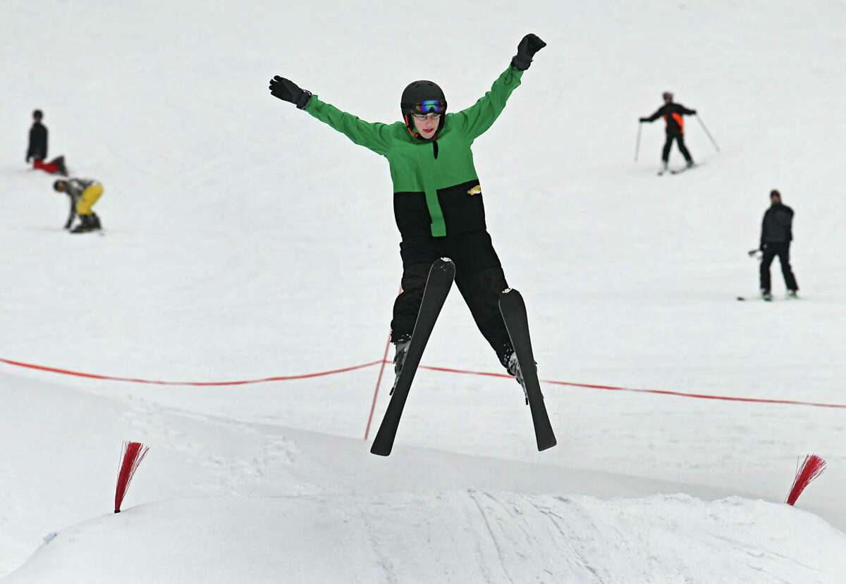 Bethlehem student Brian Mocerine, 15, of Delmar tries a spead-eagle on a jump at Maple Ski Ridge on Tuesday, Feb. 18, 2020 in Schenectady, N.Y. This week is considered a holiday week at the ski center with the schools on a winter break. (Lori Van Buren/Times Union)