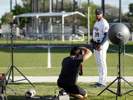 Houston Astros pitcher Josh James (39) poses for a portrait for photographer Tom DiPace during media day before the start of the Houston Astros spring training workouts at the Fitteam Ballpark of The Palm Beaches, in West Palm Beach , Tuesday, Feb. 18, 2020.