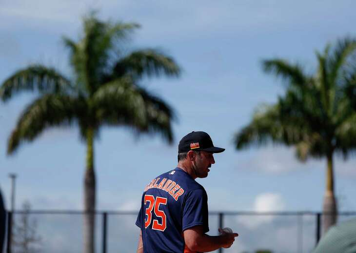 Houston Astros pitcher Justin Verlander (35) between pitches during the Houston Astros spring training workouts at the Fitteam Ballpark of The Palm Beaches, in West Palm Beach , Tuesday, Feb. 18, 2020.