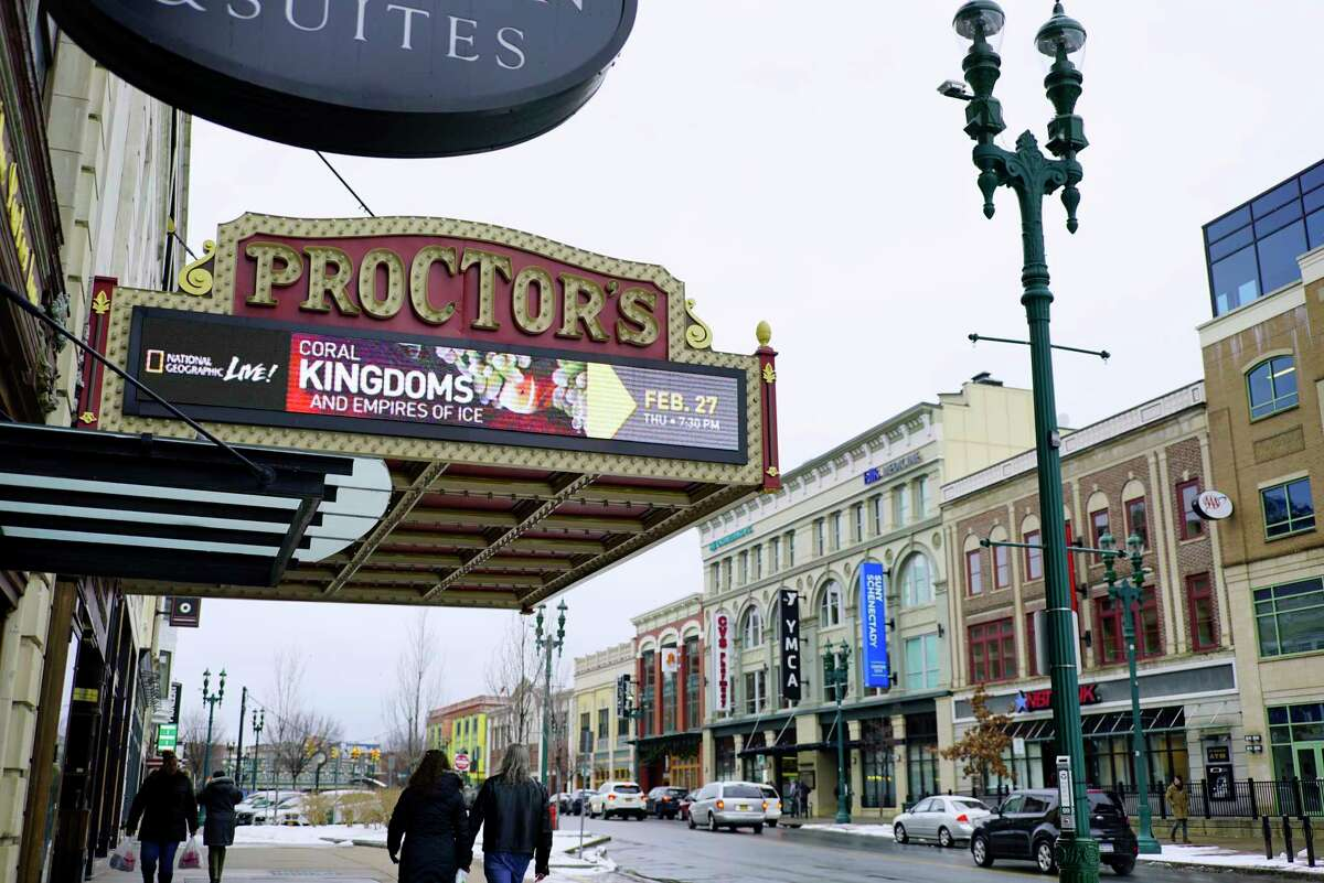 A view of Proctors on State Street in February in Schenectady. (Paul Buckowski/Times Union)